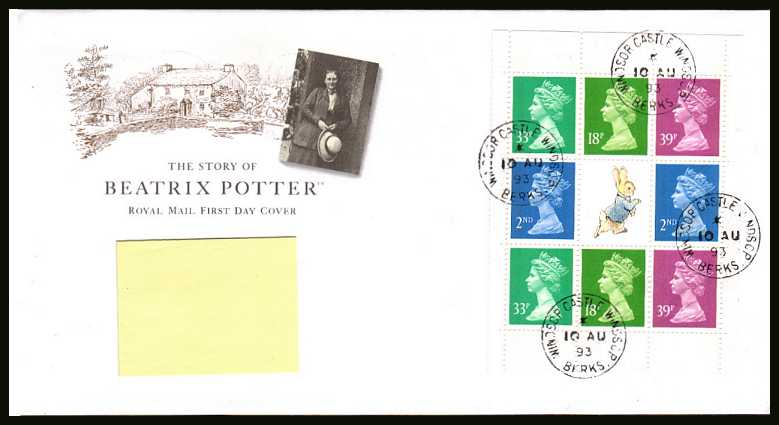 view larger back view image for Beatrix Potter booklet pane on an addressed Royal Mail FDC cancelled with four steel Royal Household CDS's reading WINDSOR CASTLE dated 10 AU 93.