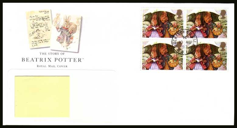 view larger back view image for Beatrix Potter commemorative booklet pane on an addressed Royal Mail FDC cancelled with a central steel Royal Household CDS's reading  BUCKINGHAM PALACE dated 10 AU 93.