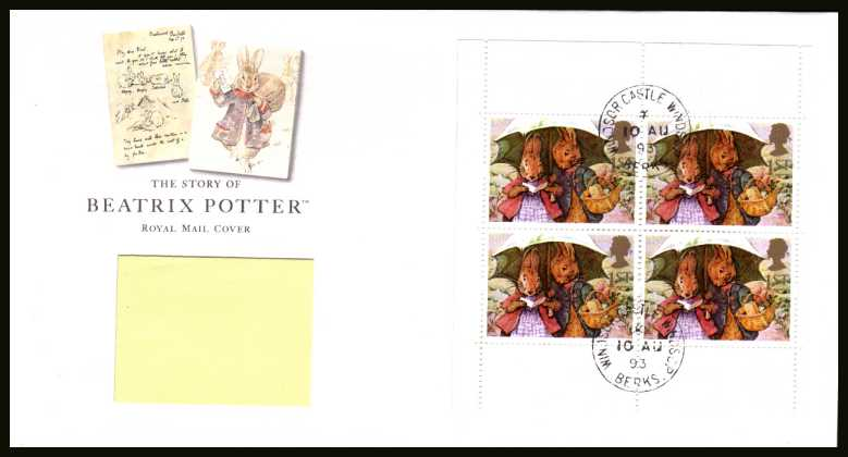 view larger back view image for Beatrix Potter commemorative booklet pane on an addressed Royal Mail FDC cancelled with two steel Royal Household CDS's reading WINDSOR CASTLE dated 10 AU 93.