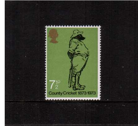 view larger image for SG 929var (1973) - County Cricket - The 7�p stamp with <b>PHOSPHOR OMITTED</b> and large shift of embossing to the right superb unmounted mint. 