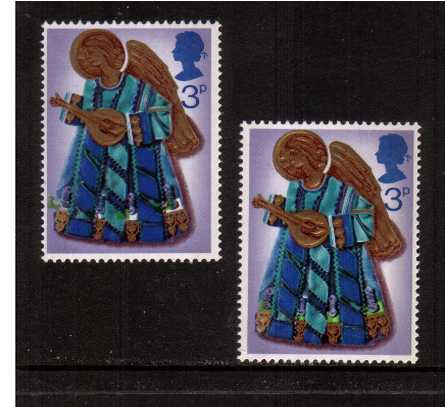 view larger image for SG 914var (1972) - Christmas - Angels. The 3p stamp showing a large shift of <b>BRIGHT GREEN </b>to the left resulting in unprinted areas of the stamp. With normal for comparison superb unmounted mint.
