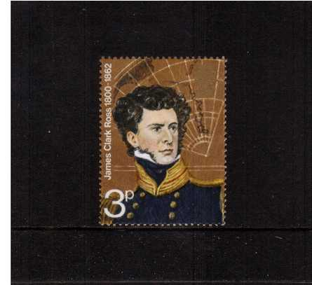 view larger image for SG 897Ed (1972) - British Polar Explorers - 3p Sir James Clark Ross single showing <b>EMBOSSING OMITTED</b> superb unmounted mint.