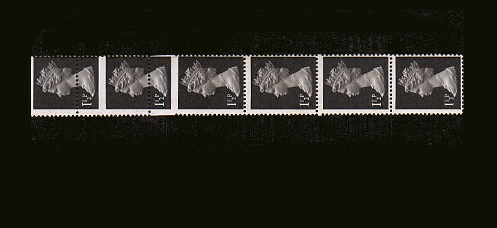 view larger image for SG X848var (1971) - 1½d Black superb unmounted mint vertical strip of six showng a normal stamp at foot of strip and a large comb jump towards the middle with one stamp huge in height. Rare!