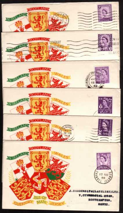 view larger back view image for A matched set of the six regions on a colour printed FFC cancelled with the correct cancel for each region dated 18 AUG 1958. Note the ''wavy line'' cancel was not available in all regions.