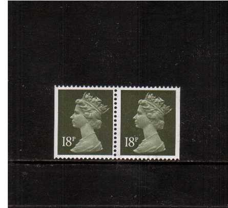 view larger image for SG X955var (1986) - 18p Olive-Grey on Phosphorised paper. A pair from a straight edged �1 Booklet in superb unmounted mint condition showing a large flaw in the Queen's hair on the stamp at left.