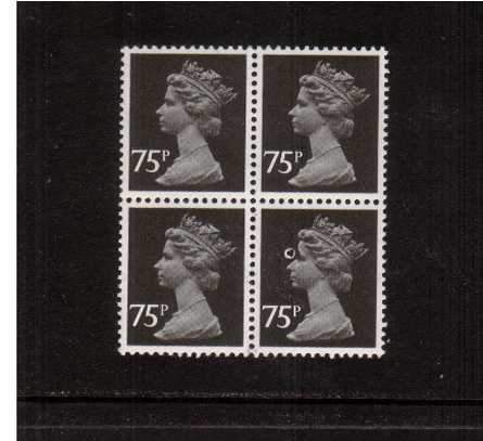 view larger image for SG X1923var (1980) - 75p black - Litho - Questa - Perforation 14<br/>