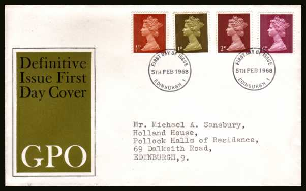 view larger back view image for Machin �d 1d 2d 6d - set of four on neatly typed official Post Office FDC cancelled with an EDINBURGH FDI cancel dated 5 FEB 1968. (note this is NOT the bureau cancel)