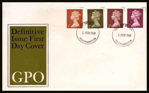view larger back view image for Machin �d 1d 2d 6d - set of four on an unaddressed official Post Office FDC cancelled with a SOUTHAMPTON FDI cancel dated 5 FEB 1968.