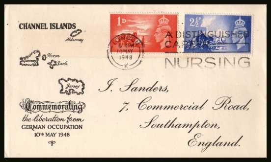 view larger back view image for Anniversary of Liberation on printed J SANDERS FDC cancelled with the LONDON 'NURSING' Slogan cancel dated 10 MY 48. Stunning quality! Cat �80