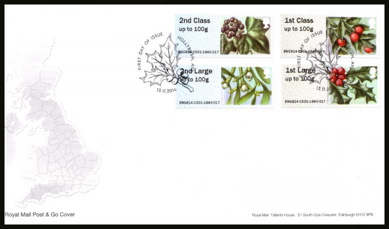 view larger back view image for ROYAL MAIL 'POST & GO' - BRITISH FLORA - Winter Greenery - 3rd Series set of four on an unaddressed official Royal Mail FDC cancelled with the official alternative FDI cancel for HOLLYBUSH - AYR dated 13-11-2014.