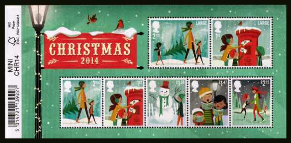 view larger image for SG MS3657 (4 Nov 2014) - Christmas - Illustrations by Andrew Bannecker<br/>minisheet  with barcode tab at left (easily removed)