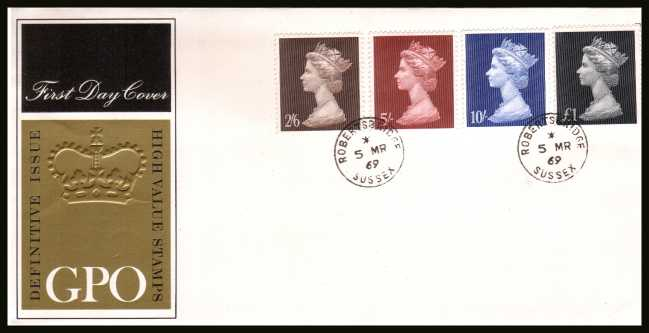 view larger back view image for Machin Head High Values set of four on unaddressed GPO Official FDC cancelled with two ROBERTSBRIDGE - SUSSEX steel CDSs dated 5 MAR 1969