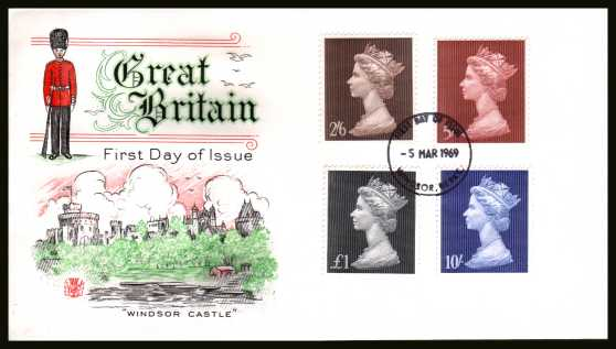 view larger back view image for Machin Head High Values set of four on an UN ADDRESSED Stuart FDC cancelled with a WINDSOR - BERKS 