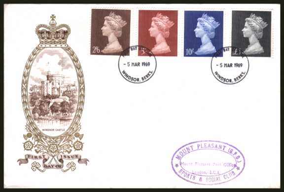 view larger back view image for Machin Head High Values set of four on an UNADDRESSED PHILART delux FDC cancelled with two WINDSOR - BERKS FDIs dated 5 MAR 1969
