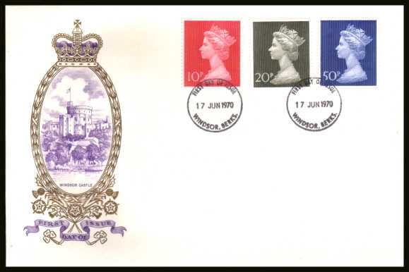 view larger back view image for Decimal Currency set of three on an unaddressed PHILART delux FDC cancelled with two WINDSOR - BERKSHIRE cancels dated 17 JUN 1970