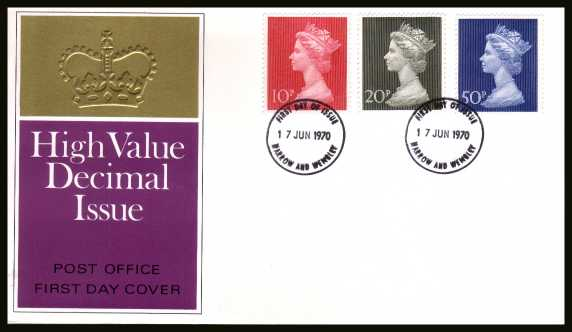 view larger back view image for Decimal Currency set of three on an unaddressed official Post Office FDC cancelled with two HARROW AND WEMBLEY
