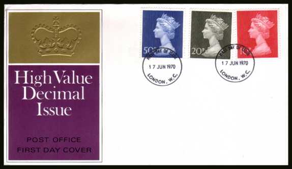 view larger back view image for Decimal Currency set of three on an unaddressed official Post Office FDC cancelled with a two LONDON W.C.