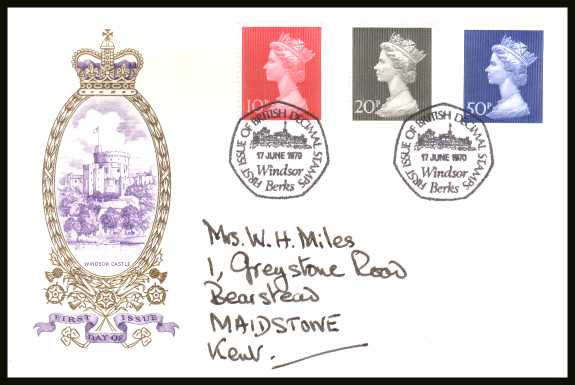 view larger back view image for Decimal Currency set of three on a hand addressed  PHILART delux FDC cancelled with the special  seven sided cancel for WINDSOR - BERKSHIRE cancel dated 17 JUNE 1970