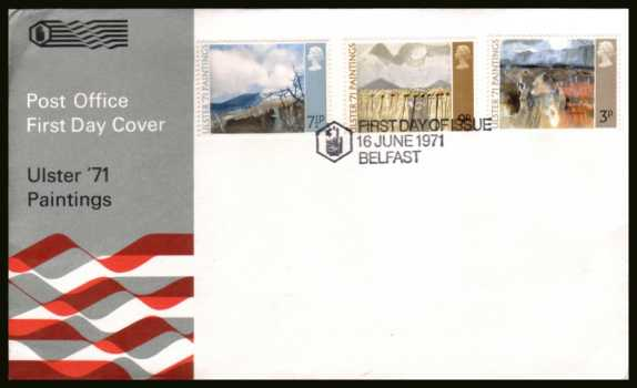 view larger back view image for Ulster Paintings set of three on an unaddressed official Post Office FDC cancelled with special alternative  cancel for BELFAST dated 16 JUNE 1971