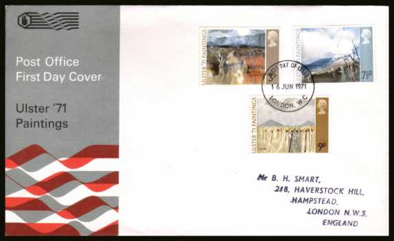 view larger back view image for Ulster Paintings set of three on handstamped addressed official Post Office FDC cancelled with a LONDON W.C. FDI cancel dated 16 JUNE 1971