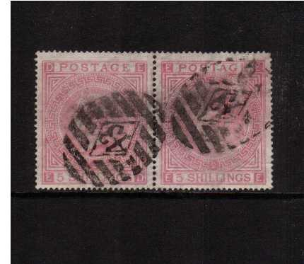 view larger image for SG 127 (1874) - 5/- Pale Rose PAIR from Plate 2 lettered 'E-D' to 'E-E'. A good used pair with good centering for this issue. The right stamp has an internal paper wrinkle but the pair is sound. SG Cat �00 as 2 singles