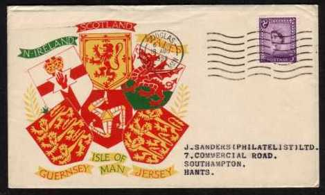 view larger back view image for ISLE of MAN - 3d Deep Lilac on a colour illustrated printed address FDC to J. SANDERS cancelled with a DOUGLAS 'wavy line' cancel dated 18 AU 58.