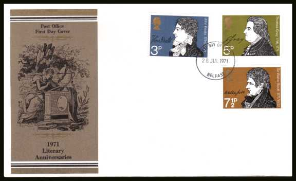 view larger back view image for Literary Anniversaries set of three on unaddress official Post Office FDC cancelled with a BELFAST FDI dated 28 JUL 1971