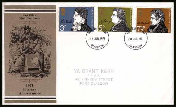 view larger back view image for Literary Anniversaries set of three on a handstamped address official Post Office FDC cancelled with a GLASGOW FDI dated 28 JUL 1971