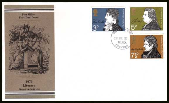 view larger back view image for .Literary Anniversaries set of three on unaddress official Post Office FDC cancelled with a TRURO - CORNWALL  FDI dated 28 JUL 1971