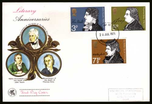 view larger back view image for Literary Anniversaries set of three on a hand stamped addressed WESSEX