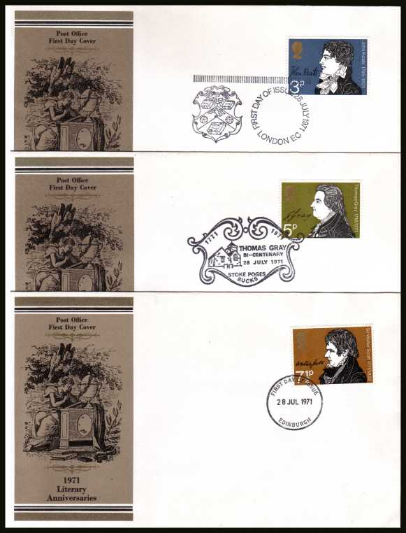 view larger back view image for Literary Anniversaries set of three on three official Post Office FDCs each cancelled with the appropriate cancel.