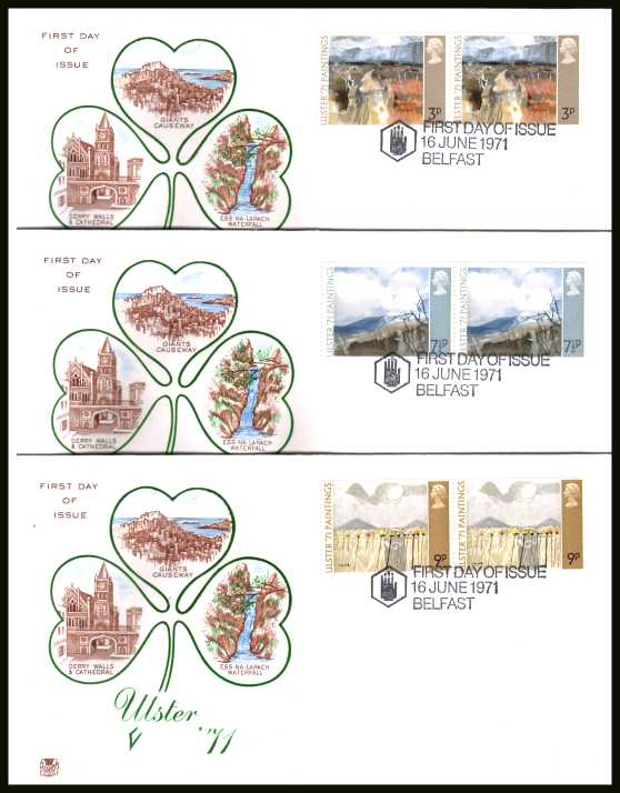 view larger back view image for Ulster Paintings set of three in pairs on three  unaddressed colour STUART FDCs cancelled with the special alternative cancel for BELFAST dated 16 JUNE 1971.