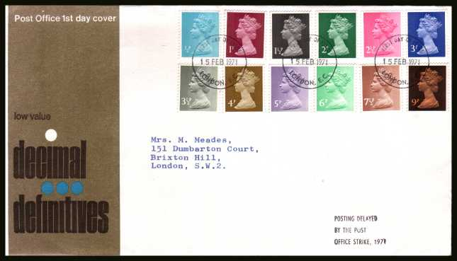 view larger back view image for The initial Machin definitive set of twelve on neatly typed official Post Office FDC cancelled with a LONDON E.C.