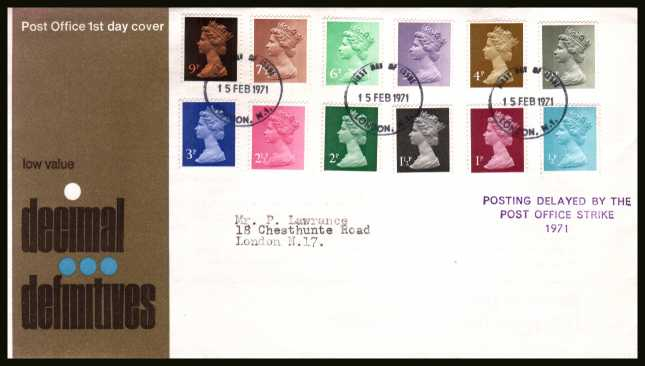 view larger back view image for The initial Machin definitive set of twelve on neatly typed official Post Office FDC cancelled with a