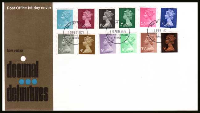 view larger back view image for The initial Machin definitive set of twelve on an unaddressed official Post Office FDC cancelled with a KINGSTON UPON THAMES - SURREY