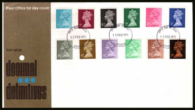 view larger back view image for The initial Machin definitive set of twelve on an unaddressed official Post Office FDC cancelled with a KENDAL