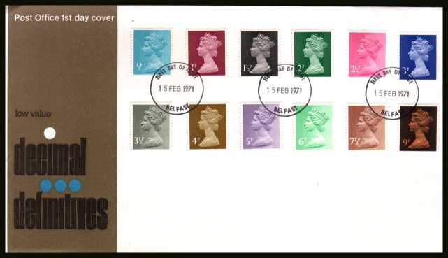 view larger back view image for The initial Machin definitive set of twelve on an unaddressed official Post Office FDC cancelled with a BELFAST