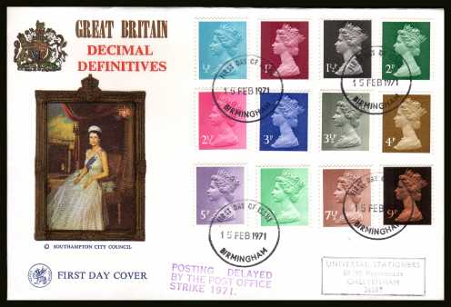 view larger back view image for The initial Machin definitive set of twelve on a hand stamped addressed WESSEX