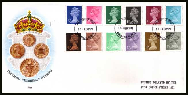 view larger back view image for The initial Machin definitive set of twelve on an unaddressed PHILART