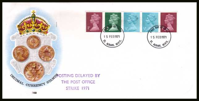 view larger back view image for The first Machin coil strip of five on an unaddressed  PHILART FDC cancelled with three strikes of the WINDSOR FDI  cancel dated 15 FEB 1971. The FDC also has the handstamp  'POSTING DELAYED BY THE POST OFFICE STRIKE 1971'