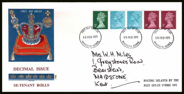 view larger back view image for The first Machin coil strip of five on a hand addressed PHILART FDC cancelled with three strikes of the WINDSOR FDI  cancel dated 15 FEB 1971. The FDC also has the handstamp  'POSTING DELAYED BY THE POST OFFICE STRIKE 1971'