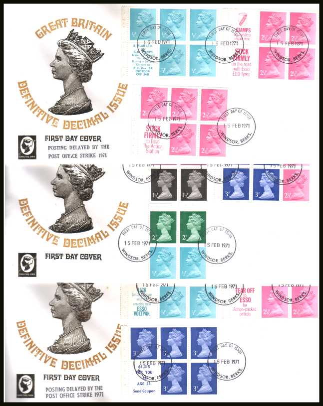 view larger back view image for The Machin set of nine panes on three unaddressed CAMEO FDCs each cancelled with several WINDSOR - BERKS FDIs dated 15 FEB 1971.