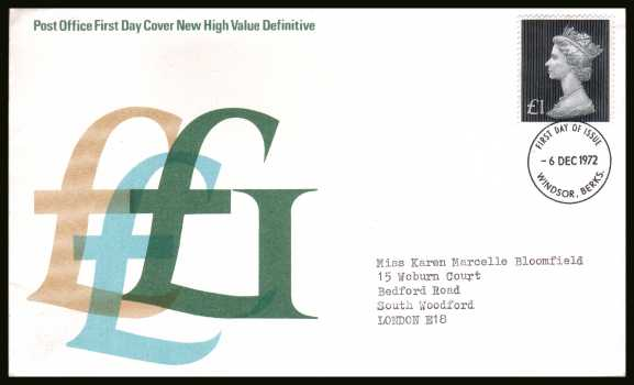 view larger back view image for �1 Bluish Black on a neatly typed addressed official Post Office FDC cancelled with a WINDSOR - BERKS