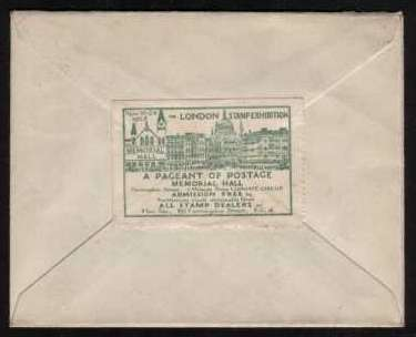 view larger back view of image for �d Green and 1d Scarlet on a small neat cover each stamp crisply cancelled with the a double ring date stamp for LONDON STAMP EXHIBITION  - LONDON E.C. 4 dated 16 NOV 28. On back, exhibition advert label in green. 'A PAGENT OF POSTAGE' !