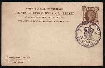 view larger front view of image for 2d Brown reply paid card cancelled with the 1890 Purple PENNY POSTAGE JUBILEE cancel dated 2 JY 90. Unsual to find on this card