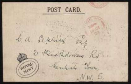 view larger front view of image for Printed postcard cancelled OFFICIAL PAID - 14 DE 27 also bearing in the SW corner the ROYAL MINT oval CROWN cancel acknowledging receipt for a payment for coins 'of the new design'
