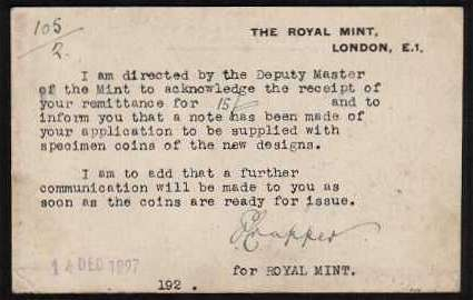 view larger back view of image for Printed postcard cancelled OFFICIAL PAID - 14 DE 27 also bearing in the SW corner the ROYAL MINT oval CROWN cancel acknowledging receipt for a payment for coins 'of the new design'