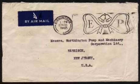 view larger front view of image for Small neat typed envelope to NEW JERSEY USA cancelled with an example of the 'E P' Slogan used for the marriage of ELIZABETH and PHILIP. Unusually no stamp was ever used on this envelope!