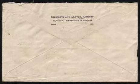 view larger back view of image for Small neat typed envelope to NEW JERSEY USA cancelled with an example of the 'E P' Slogan used for the marriage of ELIZABETH and PHILIP. Unusually no stamp was ever used on this envelope!