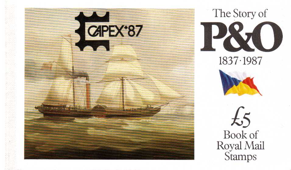 British Stamps Prestige Booklets Item: view larger image for SG DX8vv (1987) - �5 - 'The Story of P&O'<br/>overprinted in Black CAPEX '87